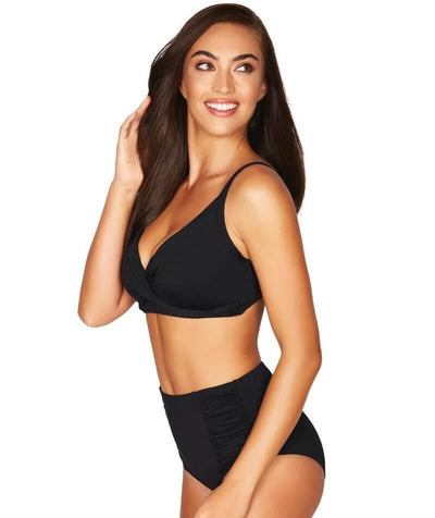 Sea Level Essentials Gathered Side High Waist Brief - Black Swim