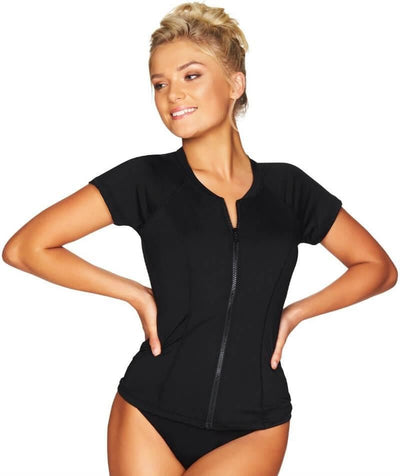 Sea Level Essentials Short Sleeved B-DD Cup Rash Vest - Full Zipper - Black Swim 8