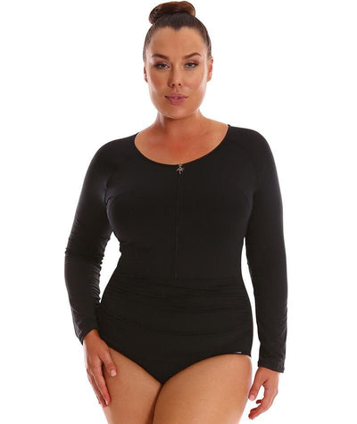 Capriosca Long Sleeve Zip One Piece - Black Swim