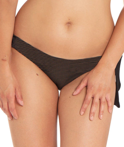 Curvy Kate Onyx Tie Side Brief - Black Stripe Swim