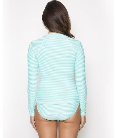 Nip Tuck Sorrento Stripe SPF 50+ Long Sleeve Rash Vest - Full Zipper - Mint/White Swim
