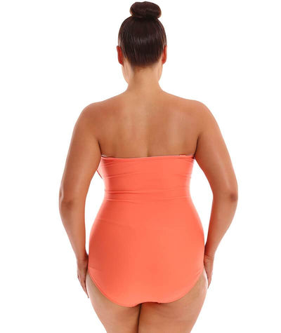 "Capriosca Twist Front Bandeau One Piece - Coral ""Back"""
