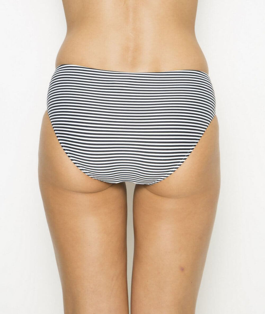 Nip Tuck Ruched Side Sorrento Stripe Bikini Brief - Black/White - Front