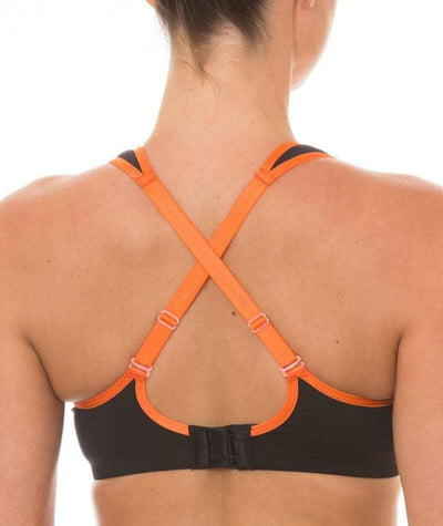 Triumph Triaction Endurance Sports Bra  - Black/Orange - Crossover - Back