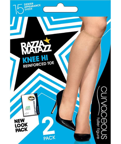 Razzamatazz Curvaceous 15Denier Sheer Knee Hi - 2 Pack - Black Hosiery 1 Size