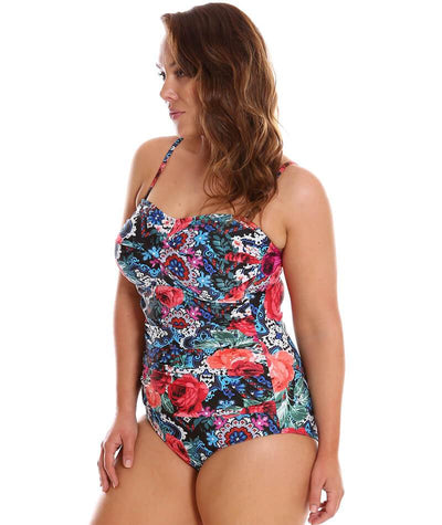 "Capriosca Folklore Roses Bandeau One Piece ""side"""