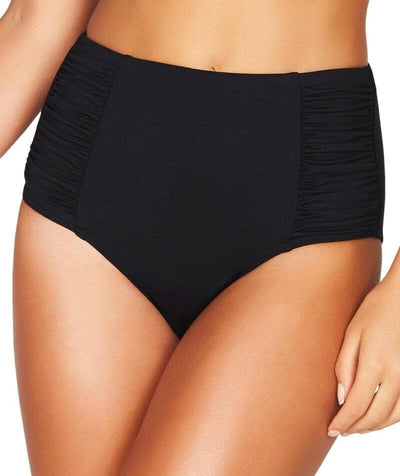 Sea Level Essentials Gathered Side High Waist Brief - Black Swim 8