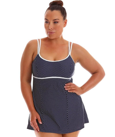 Capriosca Underwire Swim Dress - Navy Dots Swim