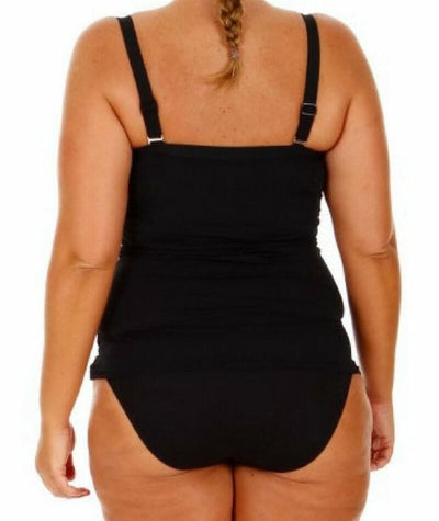Capriosca Plain Tankini Top with Bow - Black - Back