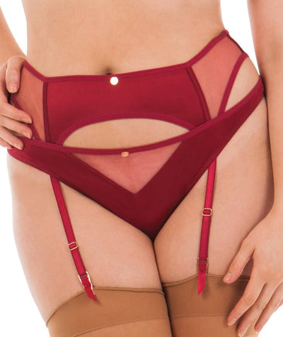 Scantilly Peek A Boo Suspender Belt - Red Knickers L
