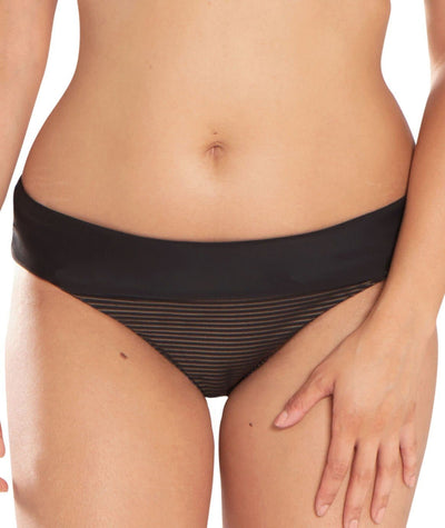 Curvy Kate Onyx Fold Over Brief - Black Stripe - Model - 1