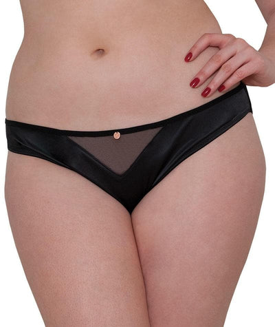 Scantilly Peek A Boo Bare Face Cheek Brief - Black Knickers L