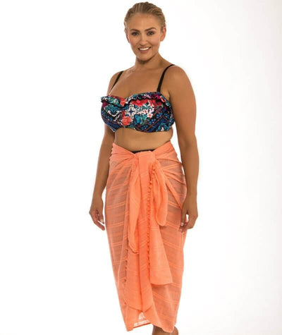 Capriosca Beach Cover Up Sarong - Coral - Side