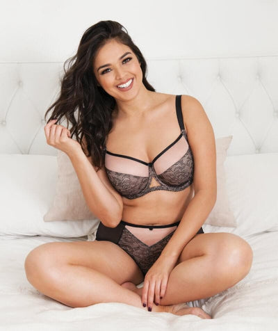 Curvy Kate Victory Amore Balcony Bra - Black/Rose - Model - Front - 2
