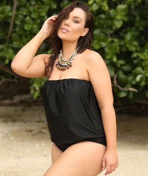 "Capriosca Flouncy One Piece Black ""Front"""