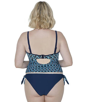 Curvy Kate Wanderlust Bandeau Tankini Top - Blue Mix - Front