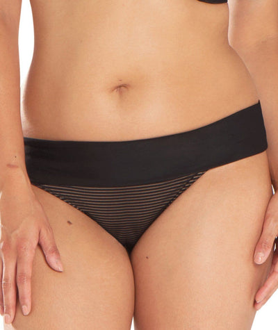Curvy Kate Onyx Fold Over Brief - Black Stripe - Front
