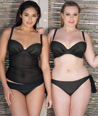 Curvy Kate Onyx Plunge Tankini - Black Stripe Swim