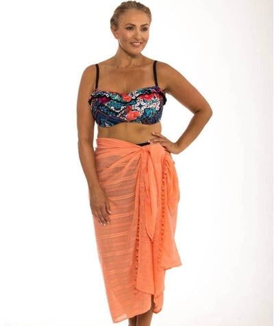 Capriosca Beach Cover Up Sarong - Coral - Front - 2