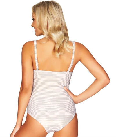 Sea Level Sorrento Stripe Square Neck A-D Cup One Piece Swimsuit - Stone - Back