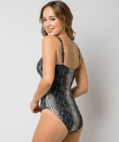 Nip Tuck Twist Front Multifit One Piece - Taupe Reptile