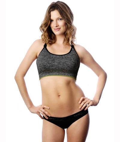 Hotmilk Vitality Yoga Nursing Bra - Grey - Model - Front