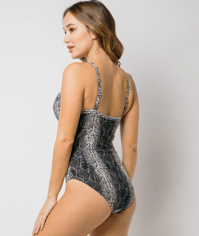 Nip Tuck Cross Front Moulded D - DD Cup Underwire One Piece - Taupe Reptile Swim