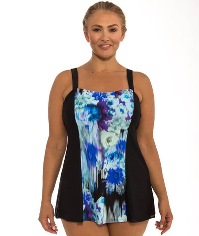 "Capriosca Midnight Floral Wide Strap Swim Dress ""front view"""