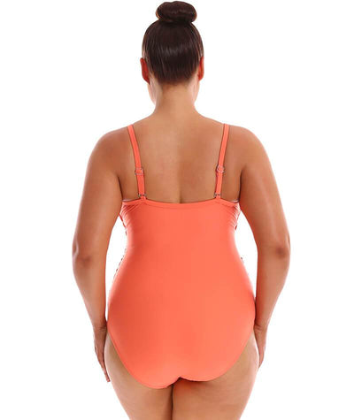 "Capriosca Criss Cross One Piece - Coral ""Back"""