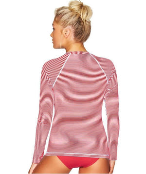 Sea Level Sorrento Stripe Long Sleeved Rash Vest - Full Zipper - Red Swim 8