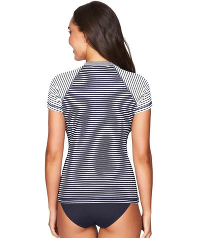 Sea Level Paloma Stripe Short Sleeved Rash Vest - Full Zipper - Navy/White - Back