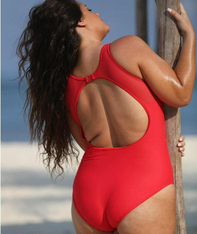 Capriosca Chlorine Resistant Mesh Tank One Piece Swimsuit - Luxe Sport Red - Back