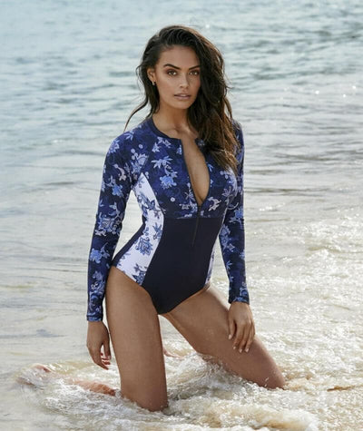 Sea Level Paisley Floral Long Sleeve A-DD Cup One Piece Swimsuit - Navy - Model