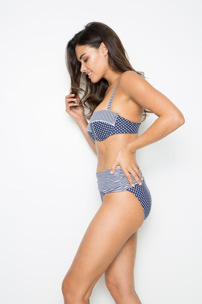 Nip Tuck D/DD Cup Underwire Sorrento Splice Bikini Top - Navy/White Swim