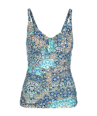 Capriosca Ruched Tankini Swimsuit Top - Mosaic Aqua
