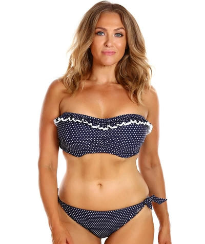 Capriosca Frilled Bandeau DD-E Cup Bikini Top - Navy and White Dots - Model - Front