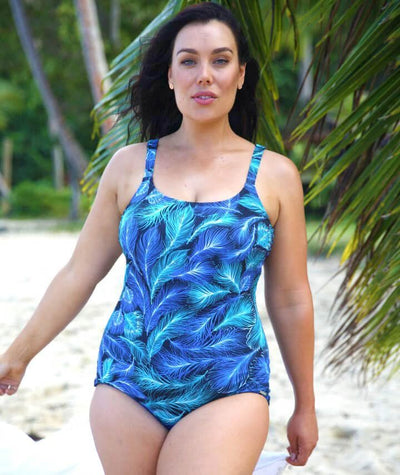 Capriosca Peacock Feather Chlorine Resistant One Piece - Blue Swim 10