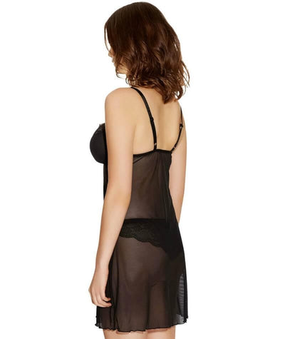 Freya Fancies F-G Cup Sheer Chemise Dress - Black - Side