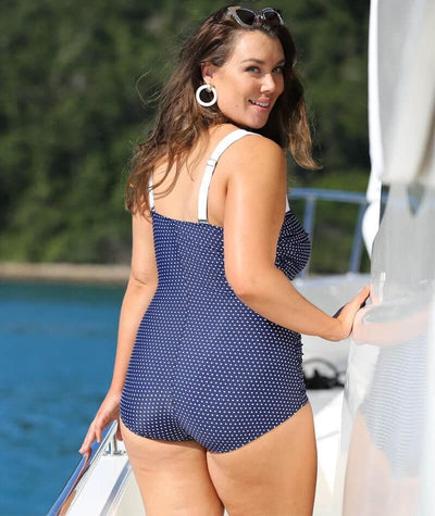 Capriosca Retro Skirted One Piece Swimsuit - Navy Dots - Back