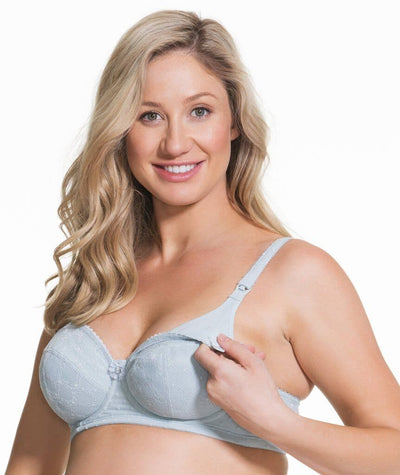 Cake Maternity Frosted Parfait Flexi Wire Balconette Lace Nursing Bra - Ice Grey Bras