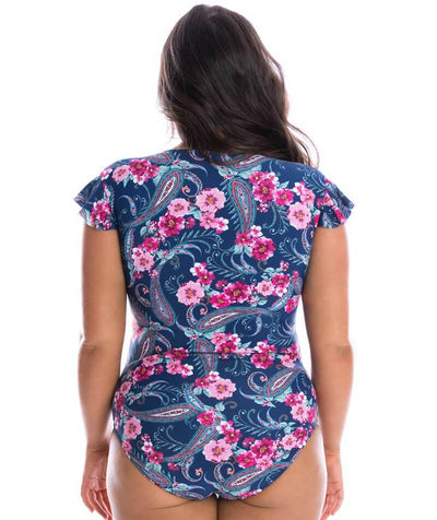 Capriosca Frill Sleeve One Piece Swimsuit - Vintage Paisley Swim
