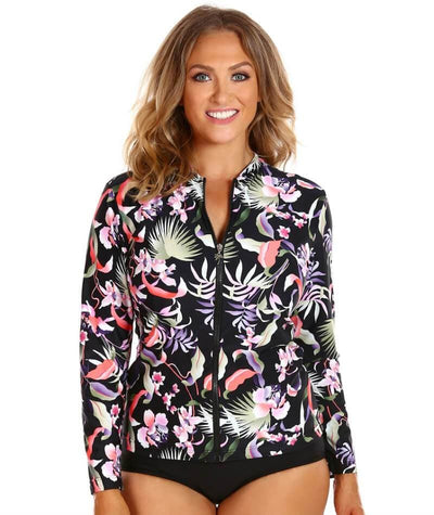 Capriosca Long Sleeve Wet Shirt - Black Tropics Swim