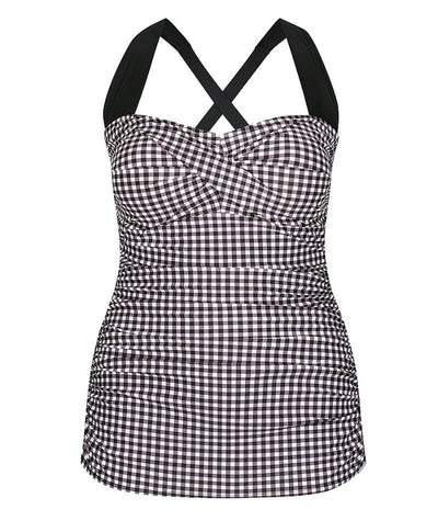 Capriosca Retro Skirted One Piece Swimsuit - Retro Check