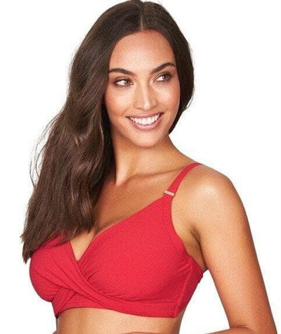 Sea Level Riviera Rib Twist Front DD-E Cup Bikini Top - Red Swim