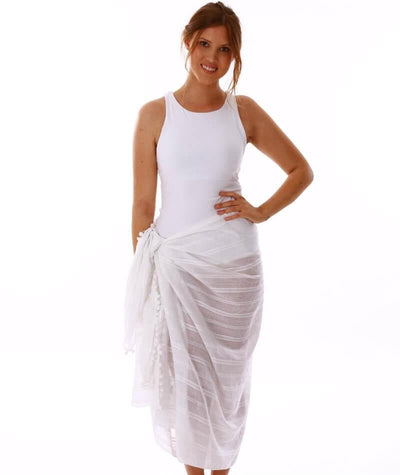 Capriosca Beach Cover Up Sarong - White - Front