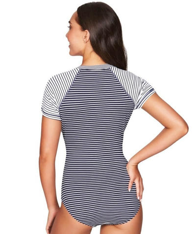 Sea Level Paloma Stripe Short Sleeve A-DD Cup One Piece Swimsuit - Navy/White - Back