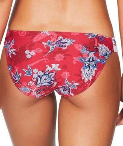Sea Level Paisley Floral Double Strap Hipster Bikini Brief - Red - Back