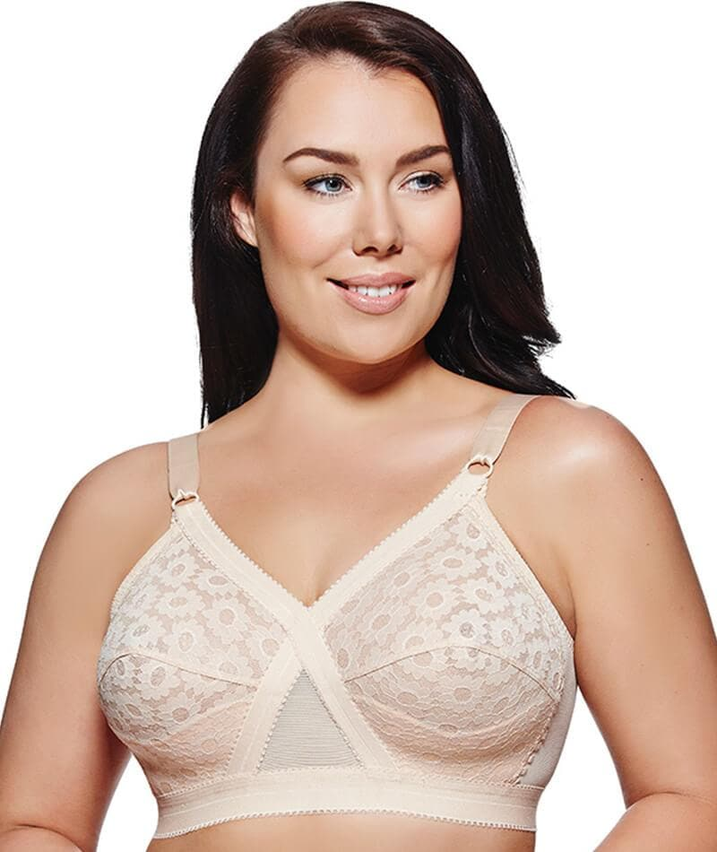 1328afb50d Playtex Cross Your Heart Wirefree Lace Bra P10152 in Beige - Curvy
