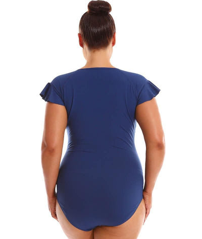 Capriosca Frill Zip One Piece - Navy Swim