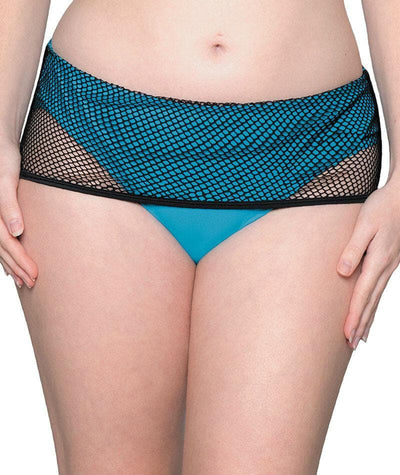 Curvy Kate Catch Of The Day Deep Foldover Brief - Black/Blue Swim